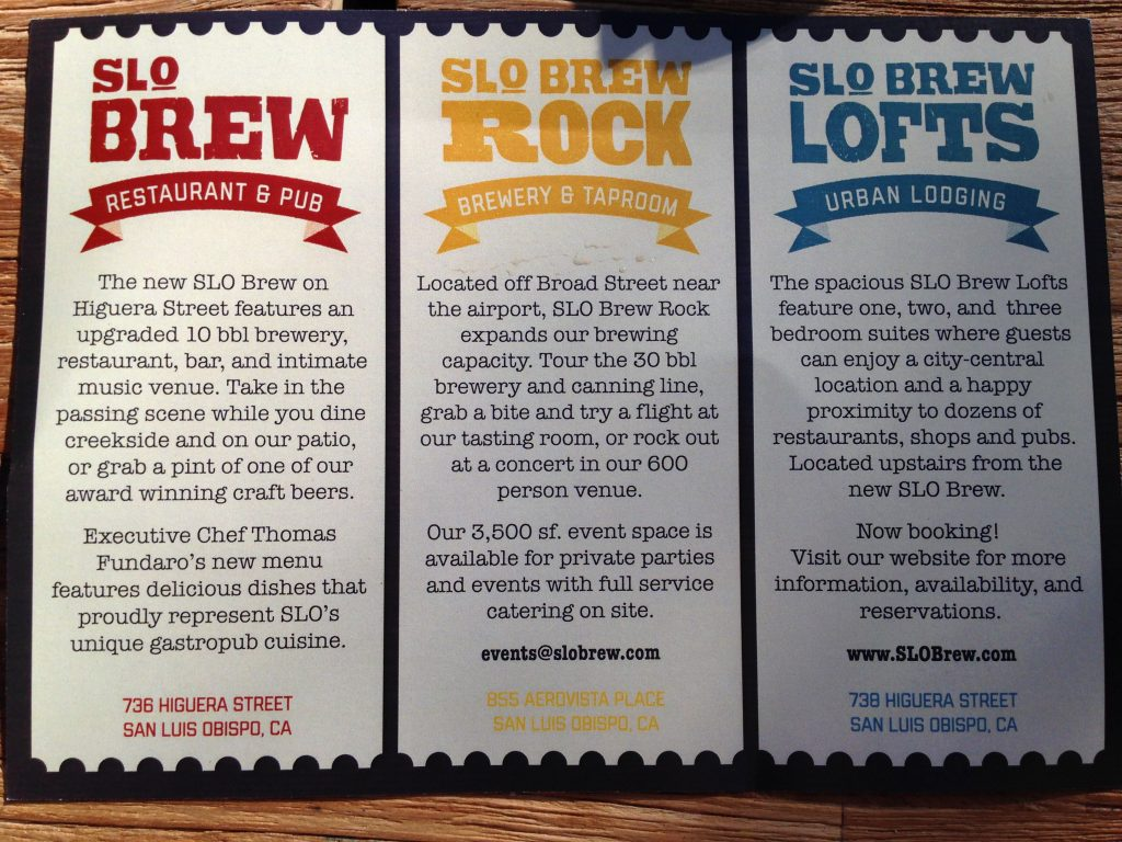 SLO Brew pamphlet back